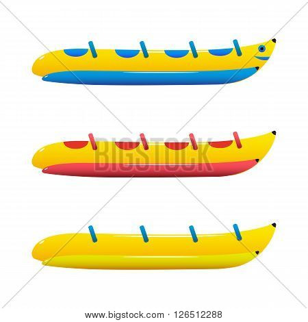 Vector image of a banana boat. Three boats with a different color.