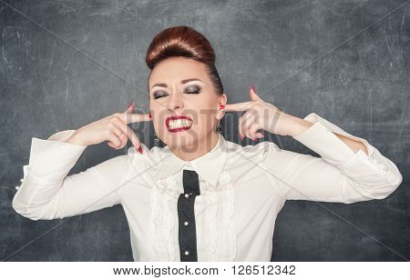 Beautiful Woman With Fingers In Her Ears