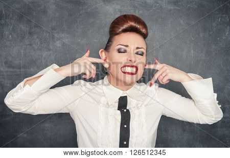 Beautiful Woman With Fingers In Her Big Ears
