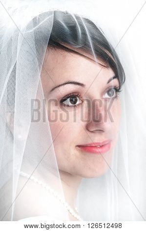 Bridal portrail veil beautiful woman marriage