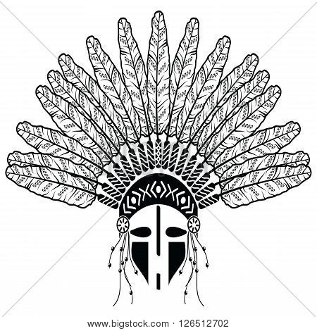 Aztec, ethnic style headdress with decorative feathers, beads symbolizing native American tribes and warrior culture in black and white with decorative ornaments and warrior make up