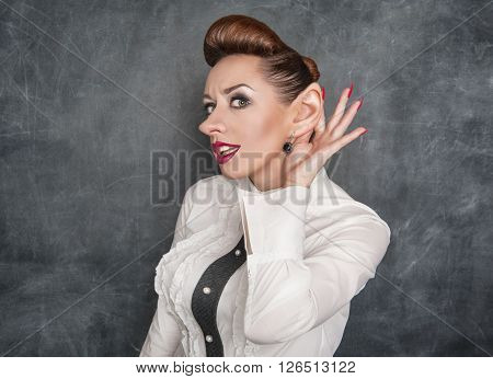 Woman With Big Ear Eavesdropping