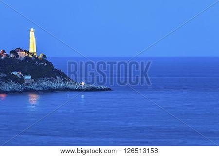 Cap Ferrat lighthouse in Saint Jean Cap Ferrat. Saint Jean Cap Ferrat French Riviera France.
