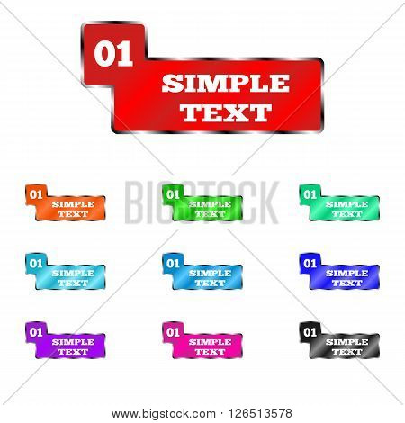 Vector image plates for the cabinet. Colored labels with numbers. Index of office rooms, rooms.
