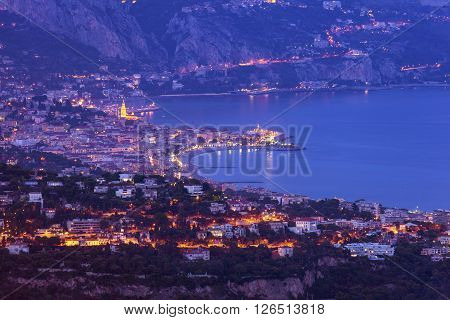 Aerial view of Monaco and Menton. Menton Provence-Alpes-Cote d'Azur France.