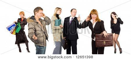 "group of people involved in phone talking  - See similar images of this ""Business People"" series in my portfolio"