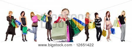 "group of nine shopping girls with happy and relaxed one at the front  - See similar images of this ""Gorgeous shopping women"" series in my portfolio"