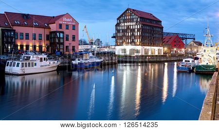 Klaipeda, Lithuania - 12 April 2016: Old Mill Hotel. Half-timbered Building Located In The Old Town