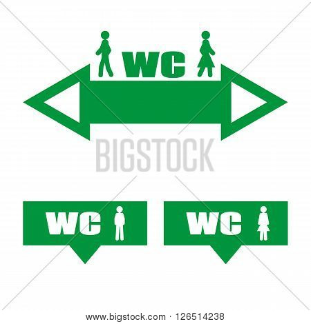 Vector image of a green plate WC. Pointer arrow WC.