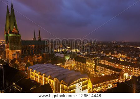 Lubeck aerial panorama during rainy evening. Lubeck Schleswig-Holstein Germany