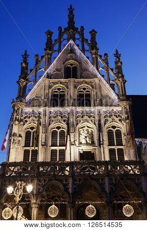 Mechelen City Hall at night. Mechelen Flemish Region Belgium
