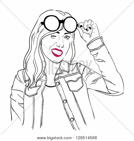 Girl with sunglasses and a jean jacket winks, black and white sketch illustration girl, vector girl, EPS 8