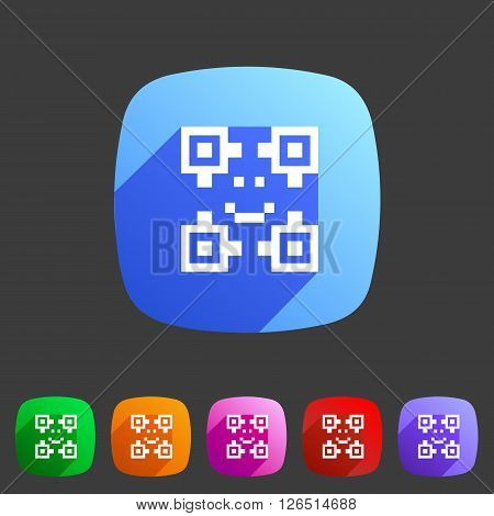 Qr code icon flat web sign symbol logo label set