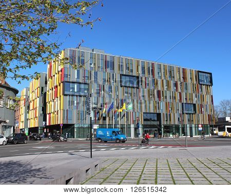 AALST, BEGIUM, APRIL 20 2016: Exterior view of the newly opened Town Hall at Werf 9 in Aalst. This colorful, new building now holds all council offices under one roof.