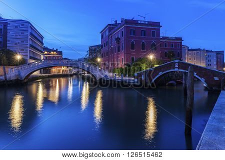 Venice canals before the sunrise. Venice Veneto Italy