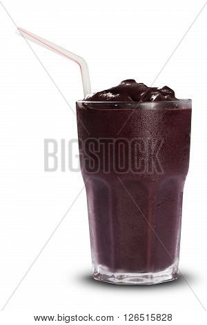 Acai juice served in the glass. White background.
