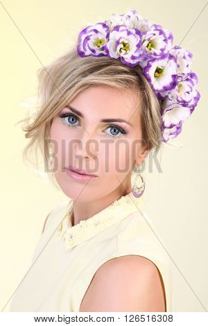 beautyful young woman with flowers