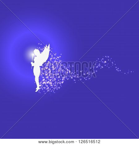 Vector illustration of a forest fairy or elf. Blue background. Magic flower. Magic dust.