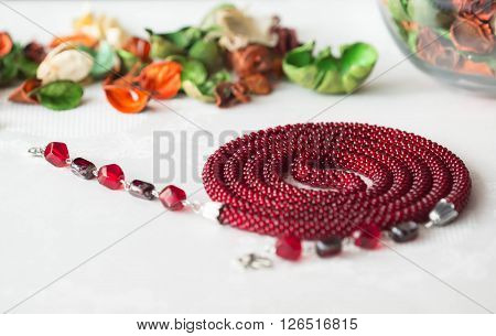 Long Crochet Beaded Necklace Red Color With Pendant