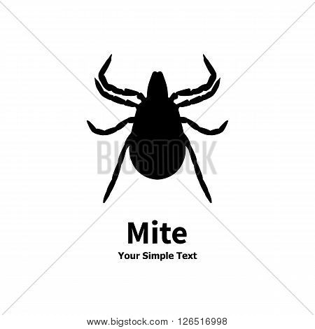 Vector illustration of a black tick on a white background. Mite, acarus, acarid.