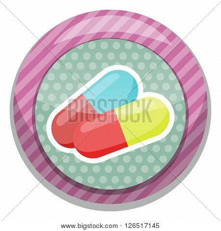 Colored vitamin pills icon medical drugs cartoon vector illustration