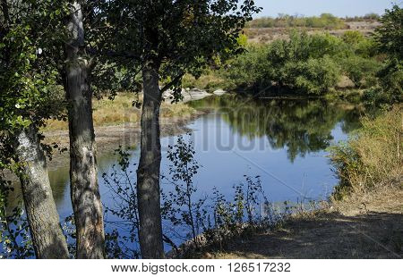the small still hush river and trees on front