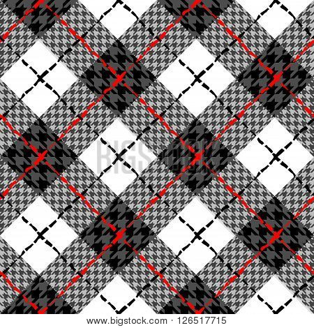 Seamless diagonal plaid pattern with a Hounds-tooth patterns.