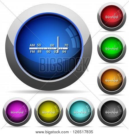 Set of round glossy Radio tuner buttons. Arranged layer structure.