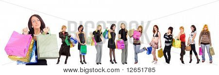 "Group of Twelve shopping girls with happy and relaxed one at the front - See similar images of this ""Groups of people"" series in my portfolio"