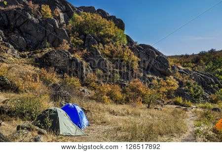 the two camps of tourist camping in the mountains