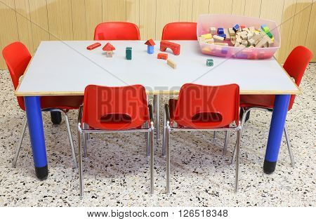 Nursery Class With Wooden Toys On The Table