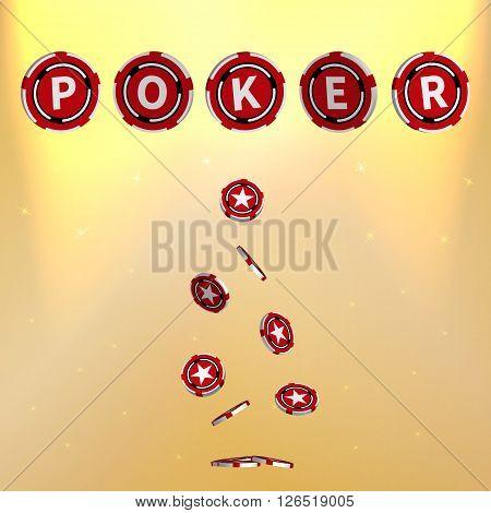 Vector illustration of poker. Poker Chips. Casino chips. Gold background.
