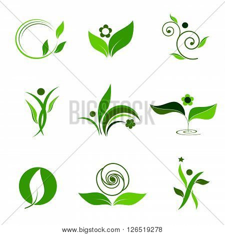 icon nature. Set of green icons, leaves, trees, flowers and people