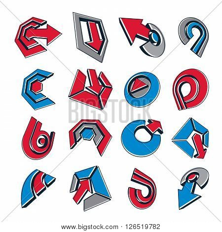 Vector 3D Simple Navigation Pictograms Collection. Set Of Red And Blue Corporate Abstract Design Ele