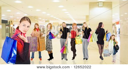 "group of girls in a mall with shopping bags - See similar images of this ""Groups of people"" series in my portfolio"