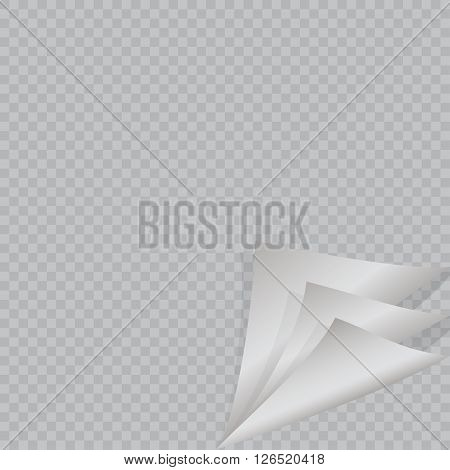 Page curl with shadow on blank sheet of paper. White sticker. Element for advertising and promotional message isolated on transparent background. Vector illustration for your design and business