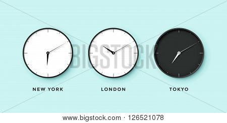 Set of day and night clock for time zones different cities. Black and white watch on a mint background. Vector Illustration