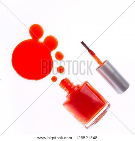 dripping nail polish isolated on white background