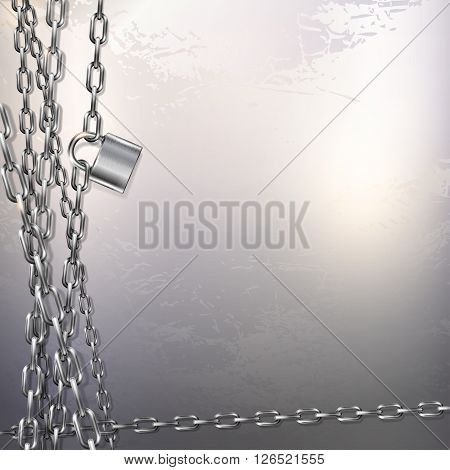 Abstract vector background - metal chain and padlock on gray metal background
