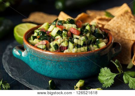 Raw Homemade Cucumber Pico De Gallo Salsa