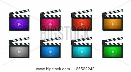 Vector Movie Production Clapboard in 8 Vivid Color Variations.