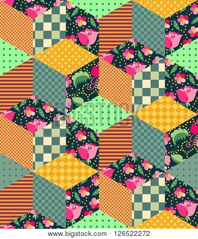 Seamless patchwork pattern with floral and geometric patches. Vector illustration of quilt.