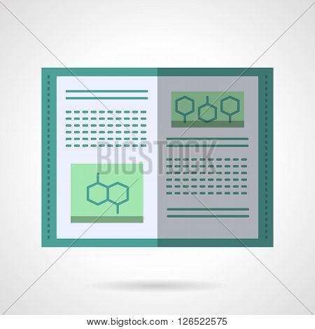 Open book with abstract text and organic molecules. Molecular biology textbook. Education and science. Flat color style vector icon. Web design element for site, mobile and business.