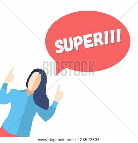 Female in a pose of joy with thumbs up and saying SUPER- modern vector flat design composition
