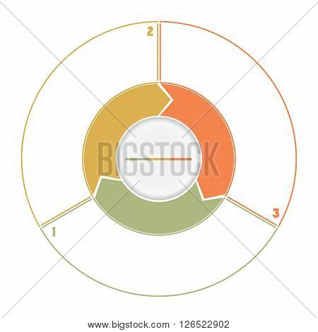 Infographic Ring from Arrows.Template cyclic process numbered for three position