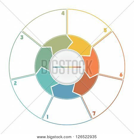Infographic Ring from Arrows.Template cyclic process numbered for seven position