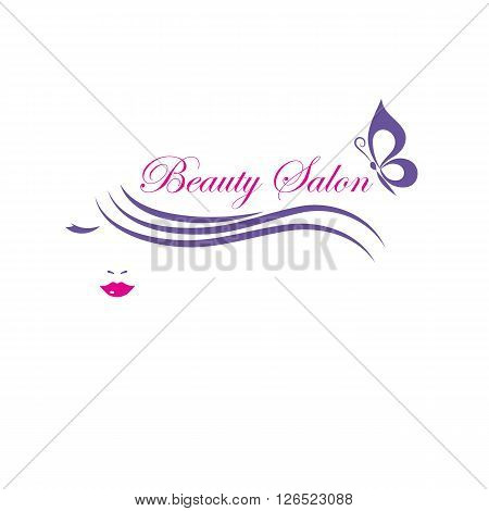 Beautiful woman face vector logo template for hair salon, beauty salon, cosmetic procedures, spa center.