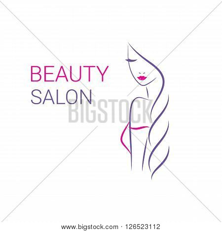 Beautiful woman vector logo template for hair salon, beauty salon, cosmetic procedures, spa center. vector logo template for hair salon, beauty salon, cosmetic procedures, spa center.