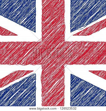 Flag of UK pencil drawing vector illustration. English flag.