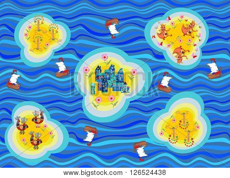 Seamless map of fantasy lands. Islands with fairy town, birds,, dragons and trees. Ocean with blue waves and ships. Childish vector illustration. Can be used for floor carpeting and fabrics.